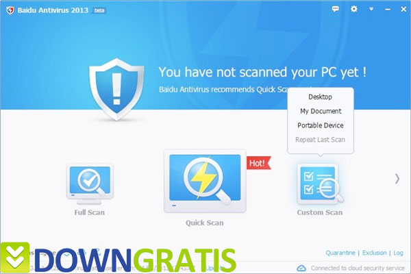 Tela do Baidu Antivirus 2013