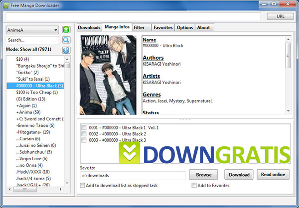 Tela do free manga downloader