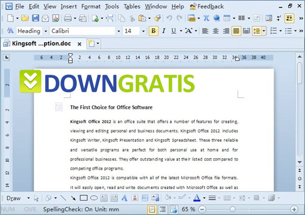 Tela do Kingsoft Office Suite Free 2013