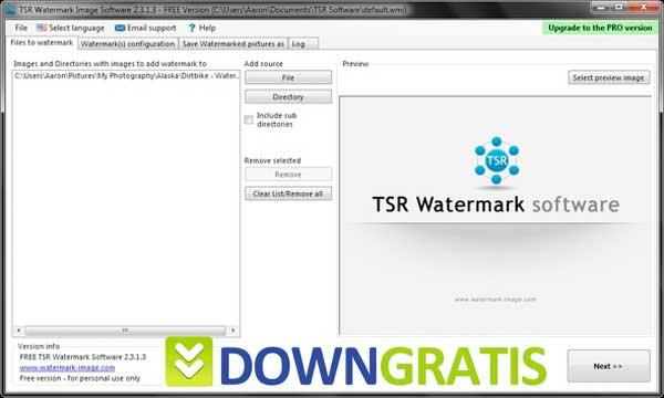 Tela do TRS Watermark