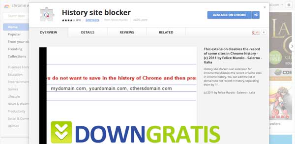 Tela do History Site Blocker