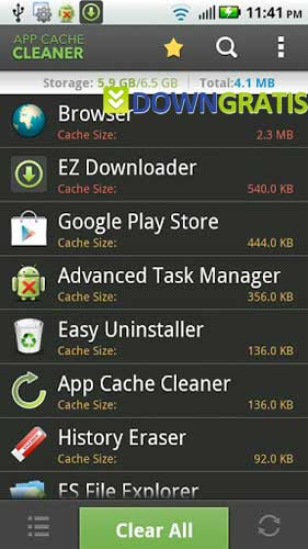 Tela do App Cache Cleaner