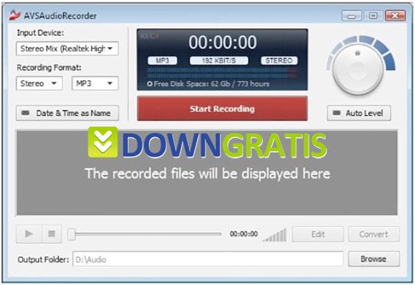Tela do AVS Audio Recorder