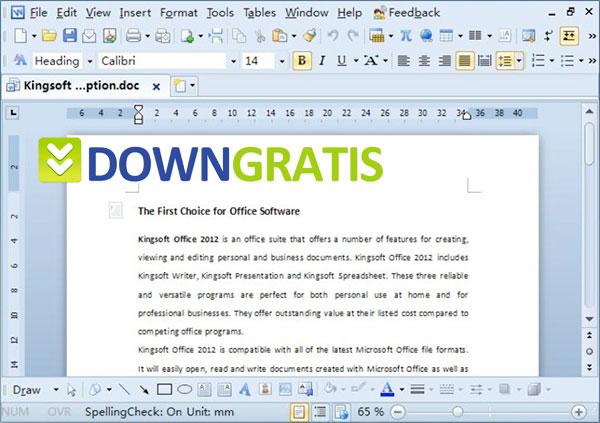 Tela do Kingsoft Office Suite Free 2013