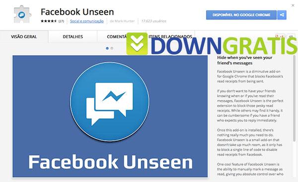 Tela do Facebook Unseen
