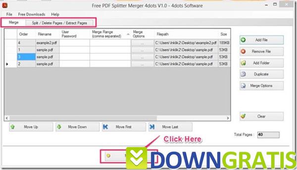 Tela do PDF Splitter Merger