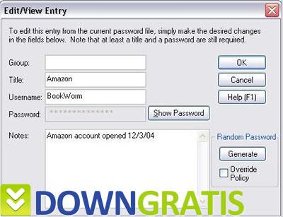 Tela do Password Safe